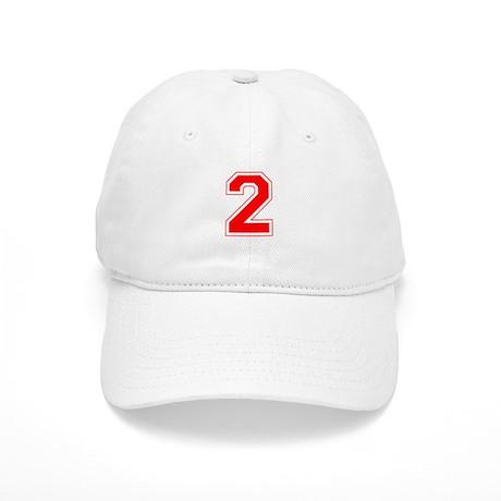 Varsity Font Number 2 Red Cap