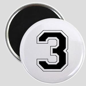 Varsity Font Number 3 Black Magnet