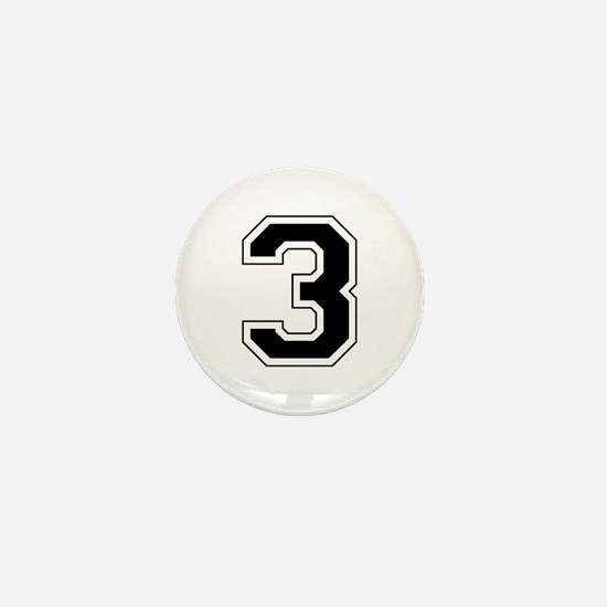 Varsity Font Number 3 Black Mini Button