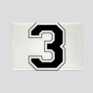 Varsity Font Number 3 Black Rectangle Magnet