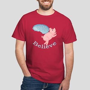 Flying Pig Design Dark T-Shirt