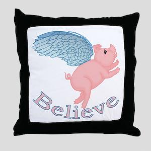Flying Pig Design Throw Pillow