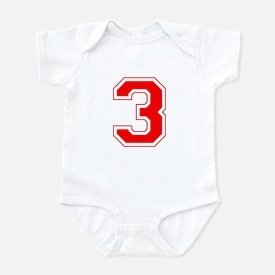 Varsity Font Number 3 Red Infant Bodysuit