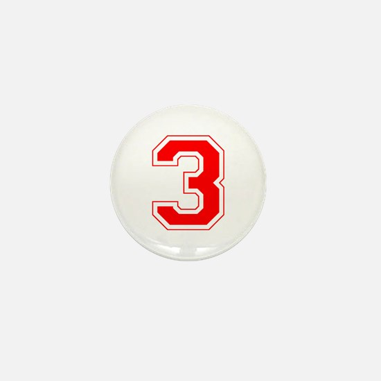 Varsity Font Number 3 Red Mini Button