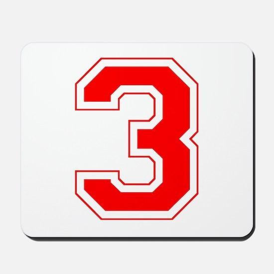 Varsity Font Number 3 Red Mousepad