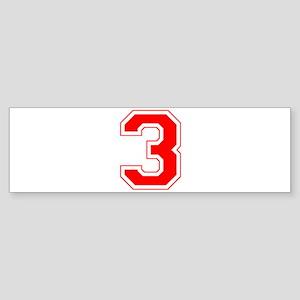 Varsity Font Number 3 Red Bumper Sticker