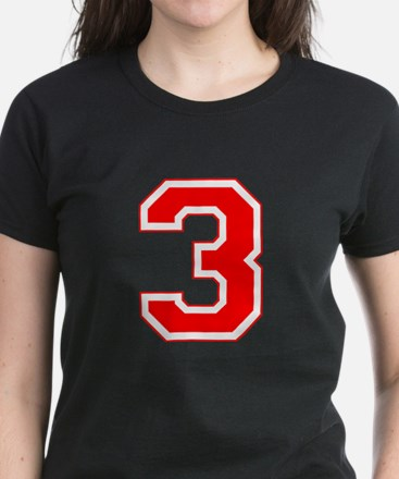 Varsity Font Number 3 Red Women's Dark T-Shirt