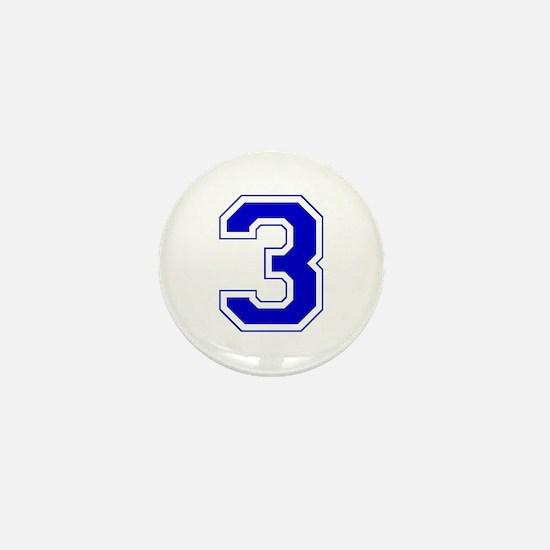 Varsity Font Number 3 Blue Mini Button