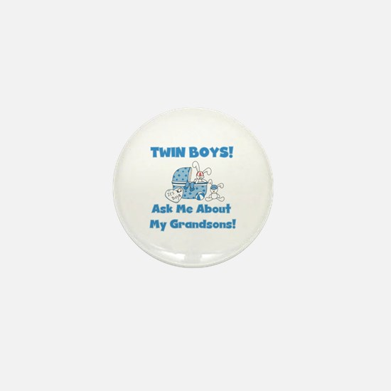 Grandma Twin Boys Mini Button