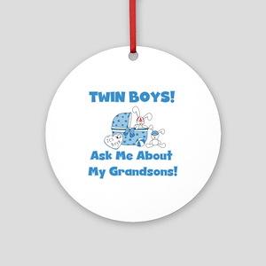 Grandma Twin Boys Ornament (Round)