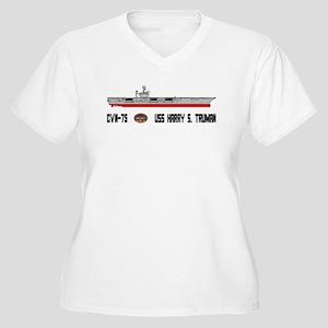 USS Truman CVN-75 Women's Plus Size V-Neck T-Shirt