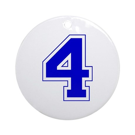 Varsity Font Number 4 Blue Ornament  Round  By Amazedcreations