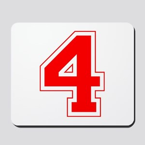 Varsity Font Number 4 Red Mousepad