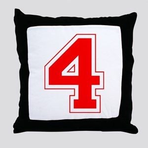 Varsity Font Number 4 Red Throw Pillow