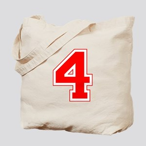 Varsity Font Number 4 Red Tote Bag