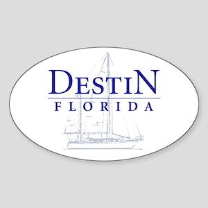 Destin Sailboat - Oval Sticker