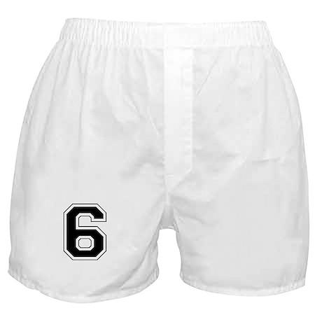 Varsity Font Number 6 Black Boxer Shorts