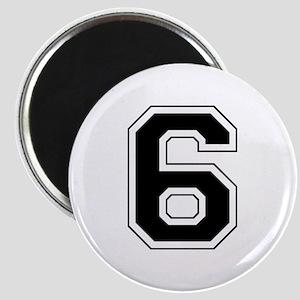 Varsity Font Number 6 Black Magnet