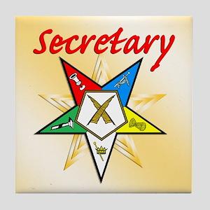 Eastern Star Secretary Items Tile Coaster