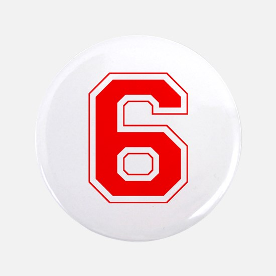 "Varsity Font Number 6 Red 3.5"" Button"