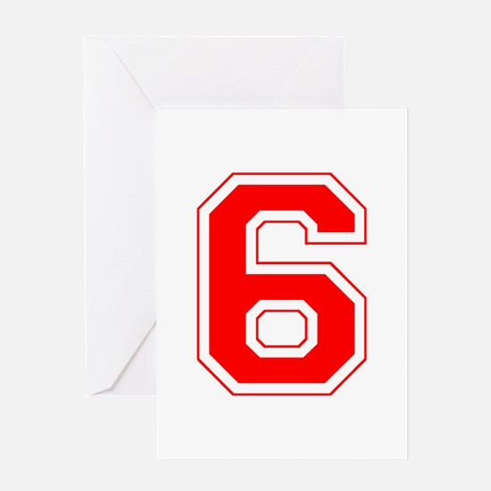 Varsity Font Number 6 Red Greeting Card