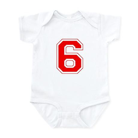 Varsity Font Number 6 Red Infant Bodysuit