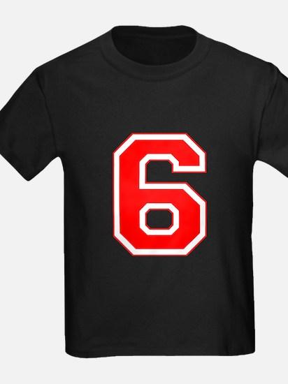 Varsity Font Number 6 Red T