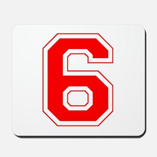 Varsity Font Number 6 Red Mousepad