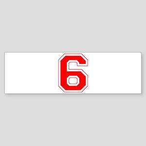Varsity Font Number 6 Red Bumper Sticker