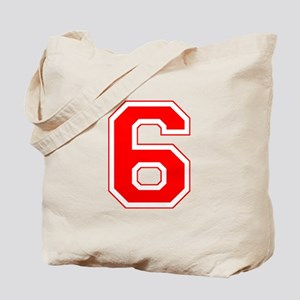 Varsity Font Number 6 Red Tote Bag