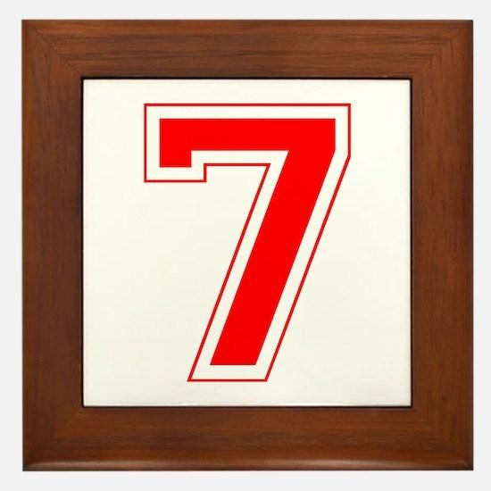 Varsity Font Number 7 Red Framed Tile