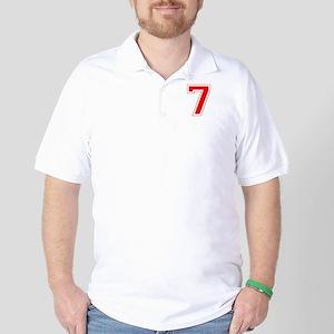 Varsity Font Number 7 Red Golf Shirt