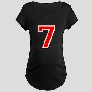 Varsity Font Number 7 Red Maternity Dark T-Shirt