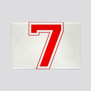 Varsity Font Number 7 Red Rectangle Magnet