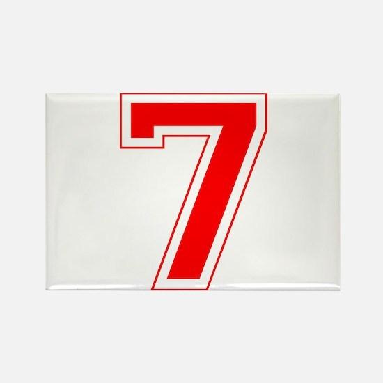 Varsity Font Number 7 Red Rectangle Magnet