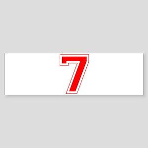 Varsity Font Number 7 Red Bumper Sticker