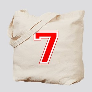 Varsity Font Number 7 Red Tote Bag