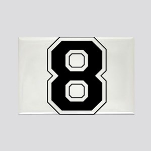 Varsity Font Number 8 Black Rectangle Magnet
