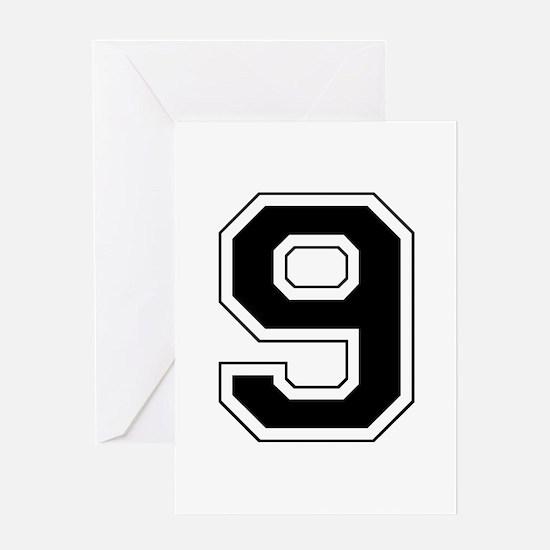 Varsity Font Number 9 Black Greeting Card