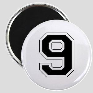 Varsity Font Number 9 Black Magnet