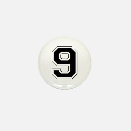 Varsity Font Number 9 Black Mini Button