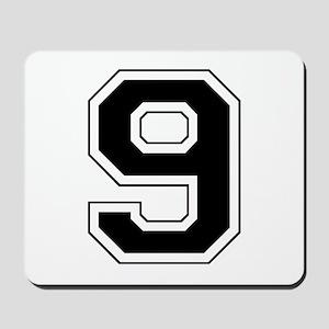 Varsity Font Number 9 Black Mousepad