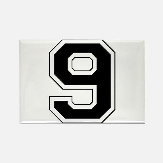 Varsity Font Number 9 Black Rectangle Magnet
