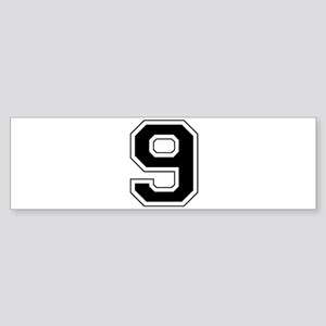 Varsity Font Number 9 Black Bumper Sticker