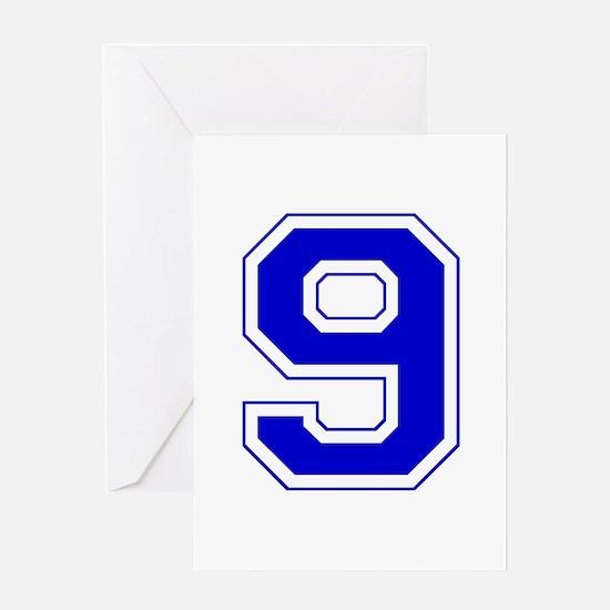 Varsity Font Number 9 Blue Greeting Card