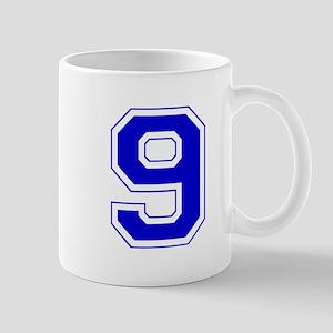 Varsity Font Number 9 Blue Mug