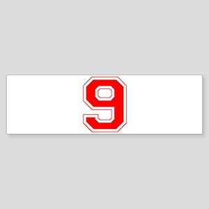 Varsity Font Number 9 Red Bumper Sticker