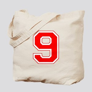 Varsity Font Number 9 Red Tote Bag