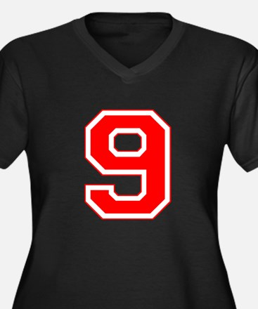 Varsity Font Number 9 Red Women's Plus Size V-Neck