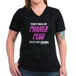 Obama Change Club Women's V-Neck Dark T-Shirt